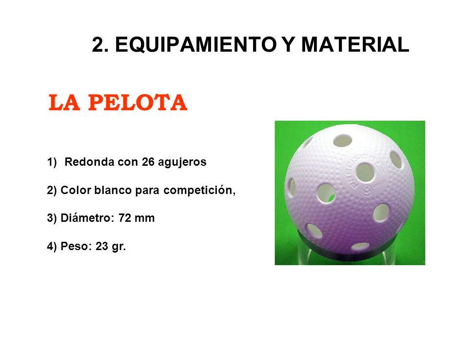 LA PELOTA 2. EQUIPAMIENTO Y MATERIAL 1)Redonda con 26 agujeros 2) Color blanco para competición, 3) Diámetro: 72 mm 4) Peso: 23 gr.