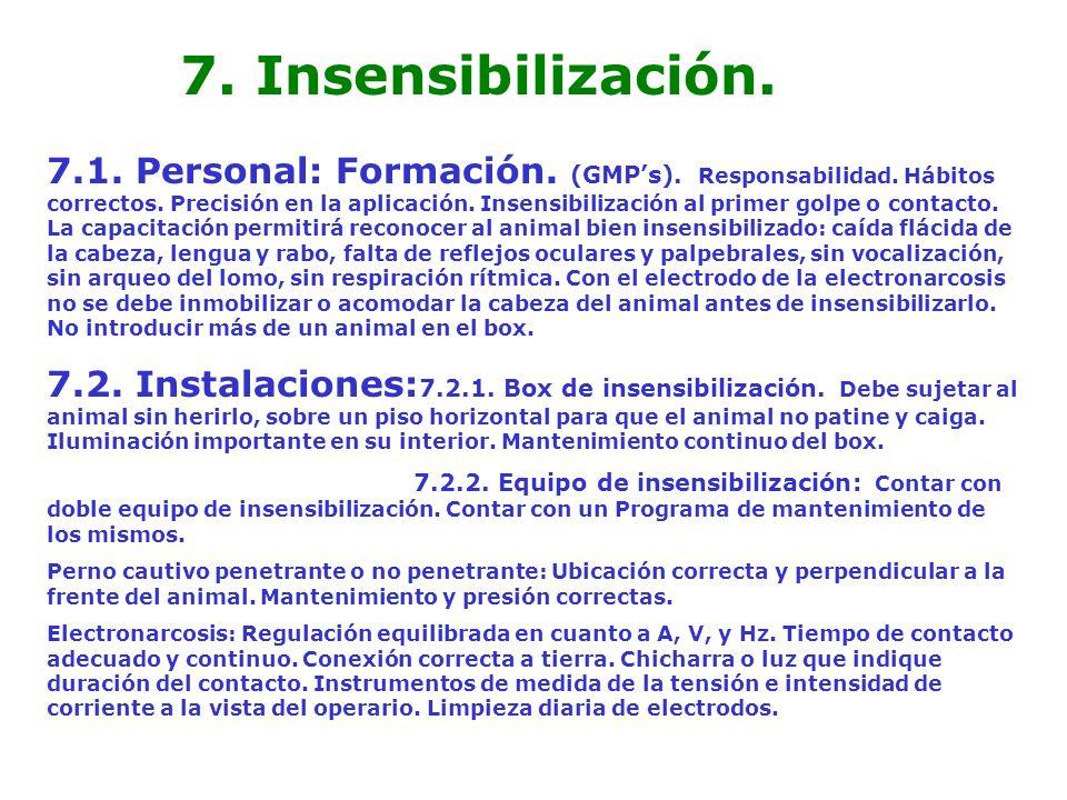 7. Insensibilización. 7.1. Personal: Formación. (GMPs). Responsabilidad. Hábitos correctos. Precisión en la aplicación. Insensibilización al primer go