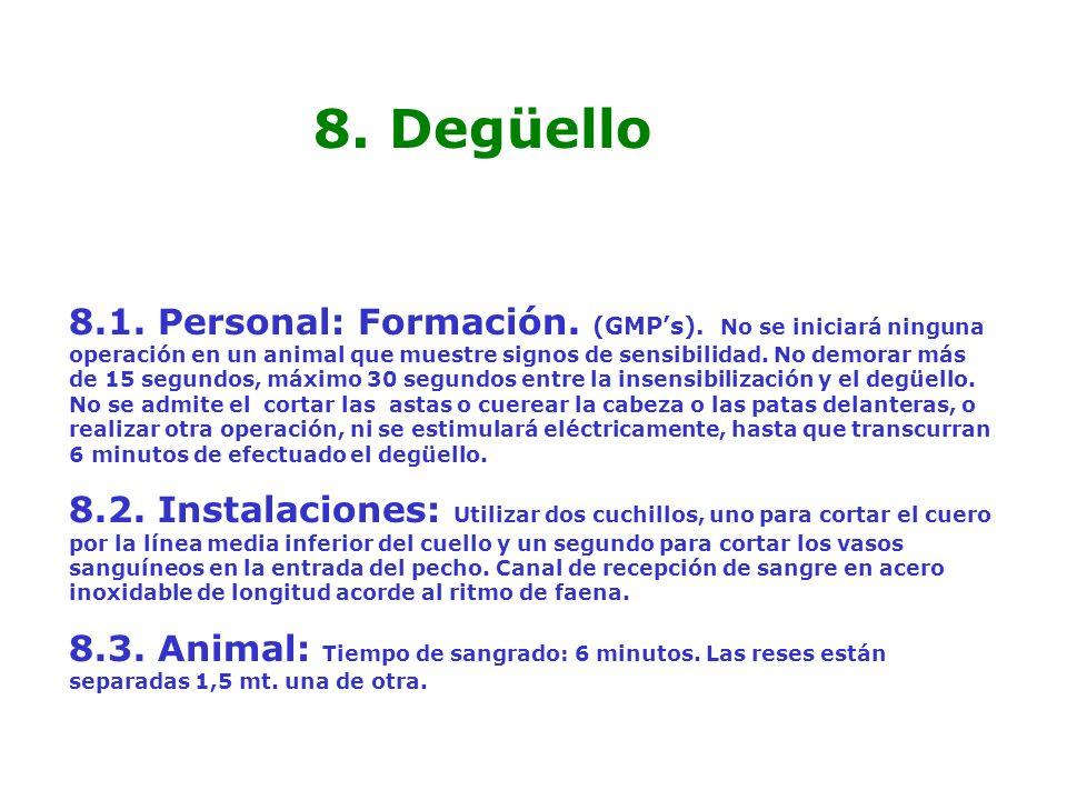 8. Degüello 8.1. Personal: Formación. (GMPs). No se iniciará ninguna operación en un animal que muestre signos de sensibilidad. No demorar más de 15 s