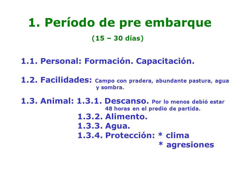1. Período de pre embarque (15 – 30 días) 1.1. Personal: Formación. Capacitación. 1.2. Facilidades: Campo con pradera, abundante pastura, agua y sombr