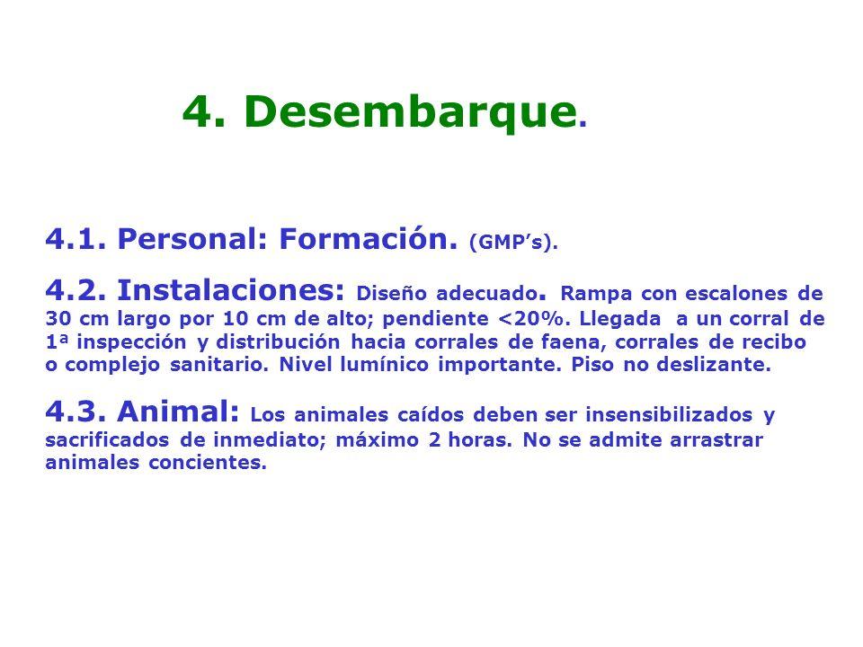 4.1. Personal: Formación. (GMPs). 4.2. Instalaciones: Diseño adecuado. Rampa con escalones de 30 cm largo por 10 cm de alto; pendiente <20%. Llegada a