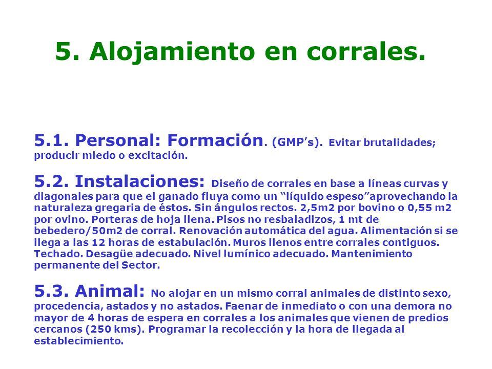 5. Alojamiento en corrales. 5.1. Personal: Formación. (GMPs). Evitar brutalidades; producir miedo o excitación. 5.2. Instalaciones: Diseño de corrales