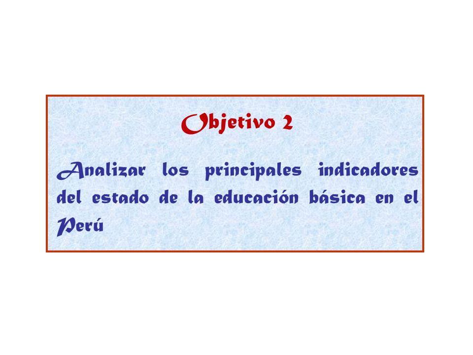 Objetivo 2 Analizar los principales indicadores del estado de la educación básica en el Perú