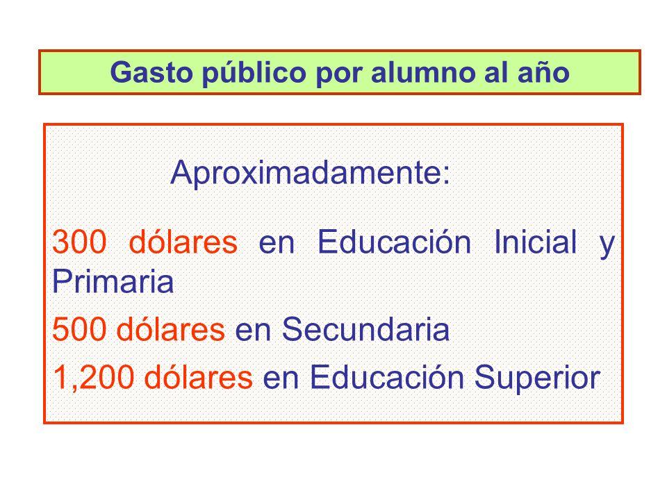 Aproximadamente: 300 dólares en Educación Inicial y Primaria 500 dólares en Secundaria 1,200 dólares en Educación Superior Gasto público por alumno al