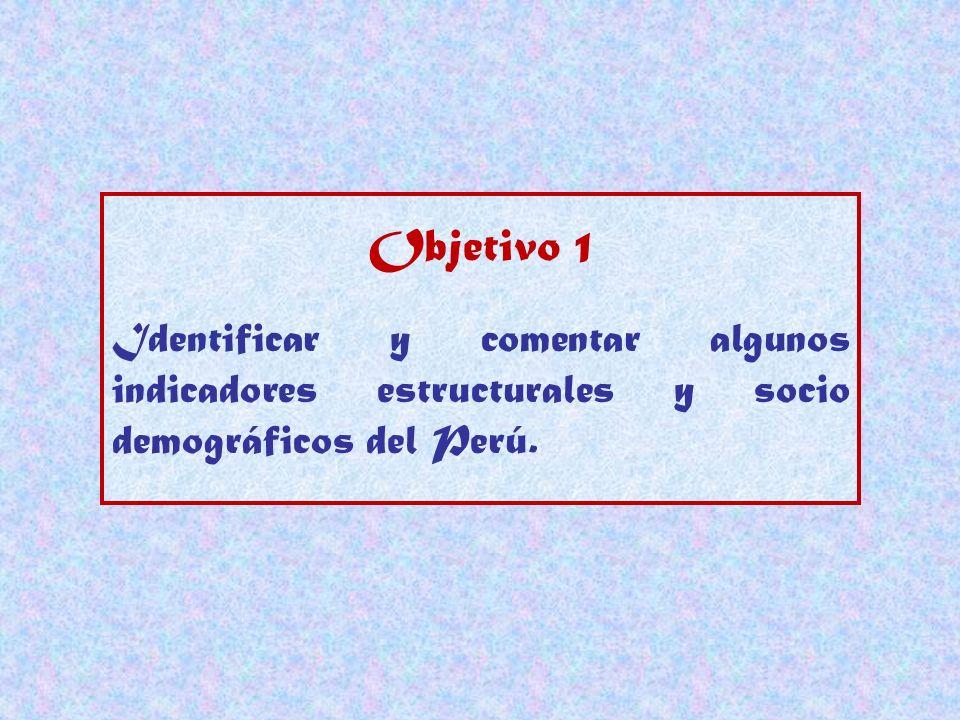 Objetivo 1 Identificar y comentar algunos indicadores estructurales y socio demográficos del Perú.
