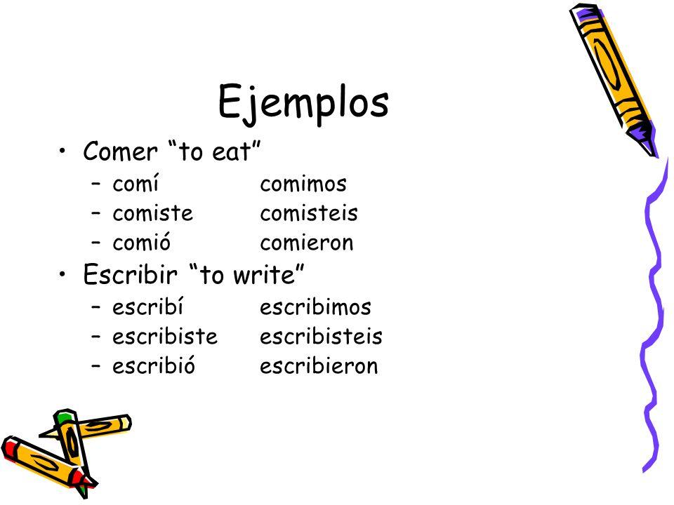 Ejemplos Comer to eat –comícomimos –comistecomisteis –comiócomieron Escribir to write –escribíescribimos –escribisteescribisteis –escribióescribieron