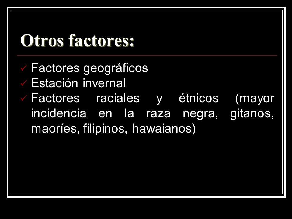 Otros factores: Factores geográficos Estación invernal Factores raciales y étnicos (mayor incidencia en la raza negra, gitanos, maoríes, filipinos, ha