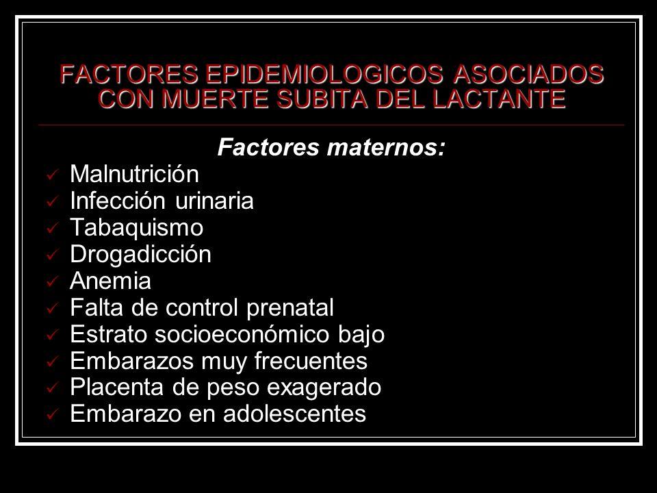 FACTORES EPIDEMIOLOGICOS ASOCIADOS CON MUERTE SUBITA DEL LACTANTE Factores maternos: Malnutrición Infección urinaria Tabaquismo Drogadicción Anemia Fa