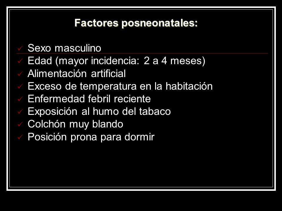 Factores posneonatales: Sexo masculino Edad (mayor incidencia: 2 a 4 meses) Alimentación artificial Exceso de temperatura en la habitación Enfermedad