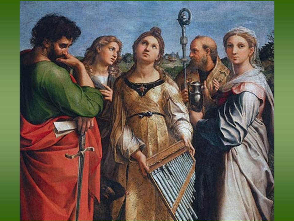 Rafael. Santa Cecilia. 1515-16. Óleo sobre tabla transferido a lienzo. Pinacoteca Nazionale de Bolonia
