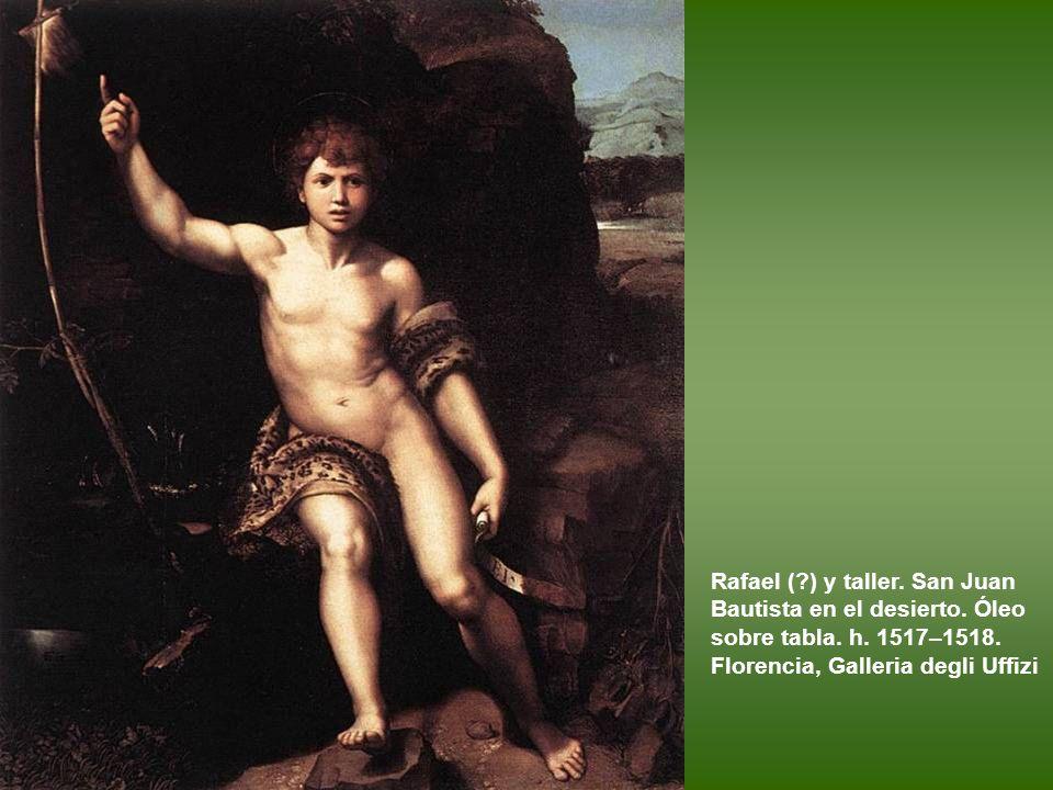 Rafael y taller (?). San Miguel. Óleo sobre tabla transferido a lienzo. 1518. París, Museo del Louvre.