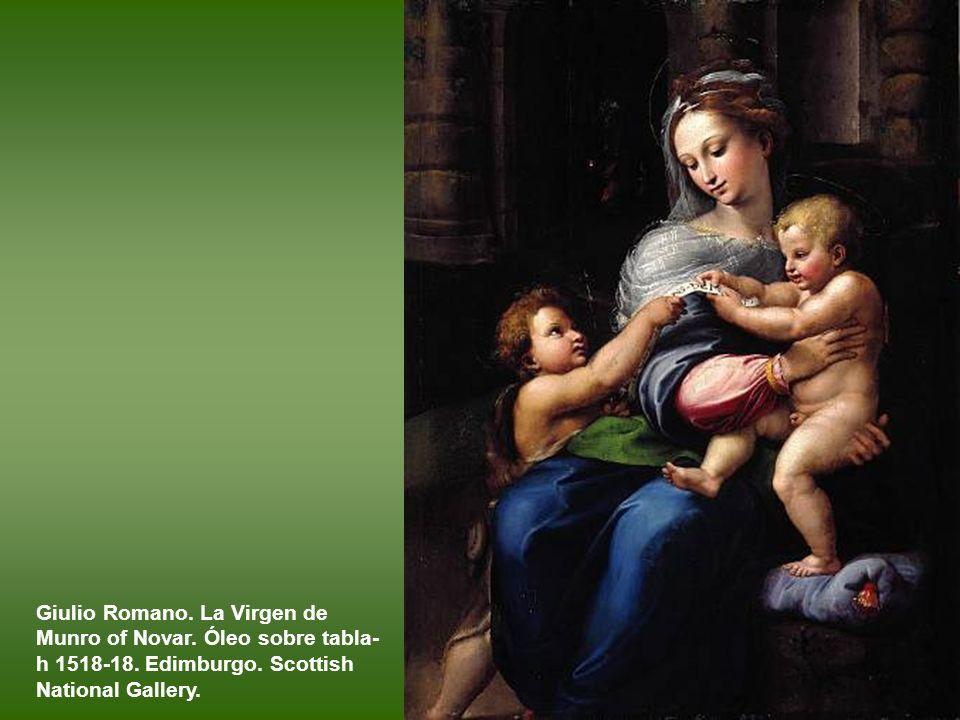 Rafael. Sagrada Familia con San Juanito, o Virgen de la rosa. Hacia 1520. Óleo sobre tabla transferido a lienzo. Madrid. Museo del Prado