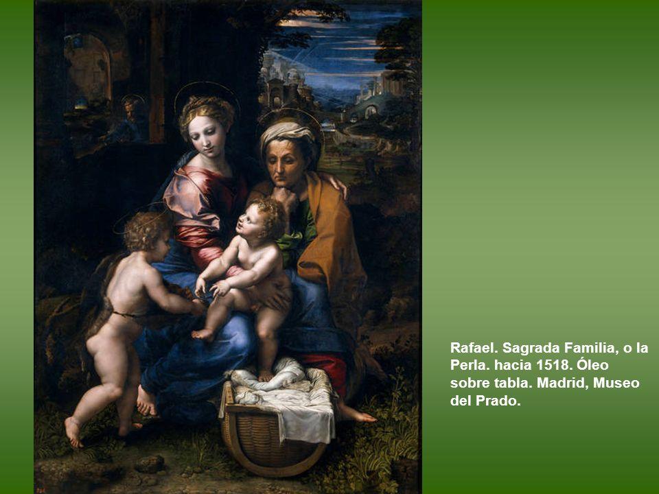 Rafael y Giulio Romano. Sagrada Familia del roble. Hacia 1518. Óleo sobre tabla. Madrid, Museo del Prado.