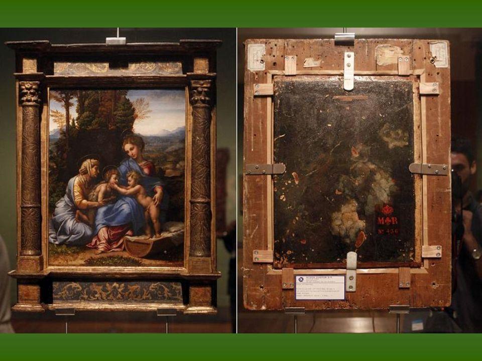 Giulio Romano. La Virgen con el Niño, santa Isabel y san Juanito, conocida como la Sagrada Familia pequeña. H 1517-18. Oleo sobre tabla. París, Museo