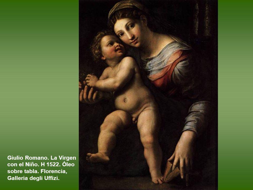 Atribuido a Gianfrancesco Penni (?). La Virgen con el Niño y san José, conocida como La Sagrada Familia del libro. Óleo sobre tabla. h. 1512 – 1514. F