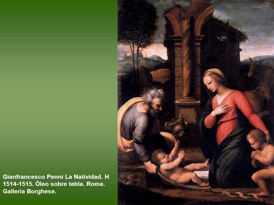 Rafael y taller (?). La Virgen con el Niño y san Juanito, conocida como La Virgen de la diadema azul. Óleo sobre tabla. h. 1512 – 1520. París, Museo d