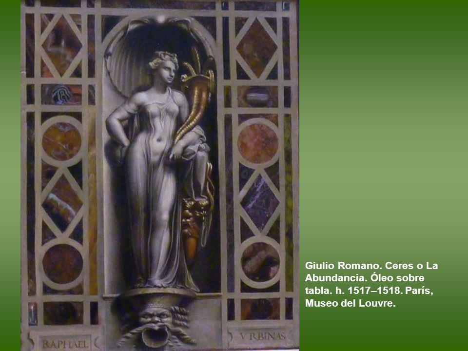 Giulio Romano. La Sagrada Familia con san Juanito, conocida como la Sagrada Familia Spinola. Óleo sobre tabla. 1518-1520?). Los Angeles. Paul Getty Mu