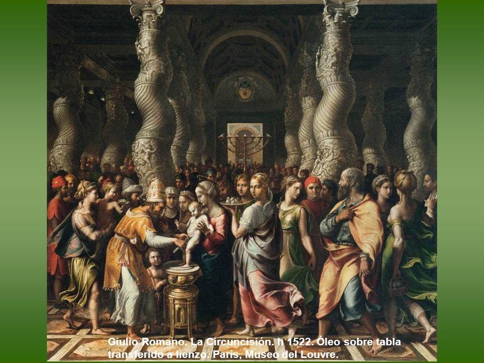 Giulio Romano. La Virgen con el Niño y San Juanito. Hacia 1518. Óleo sobre tabla. Galleria Borghese. Roma.