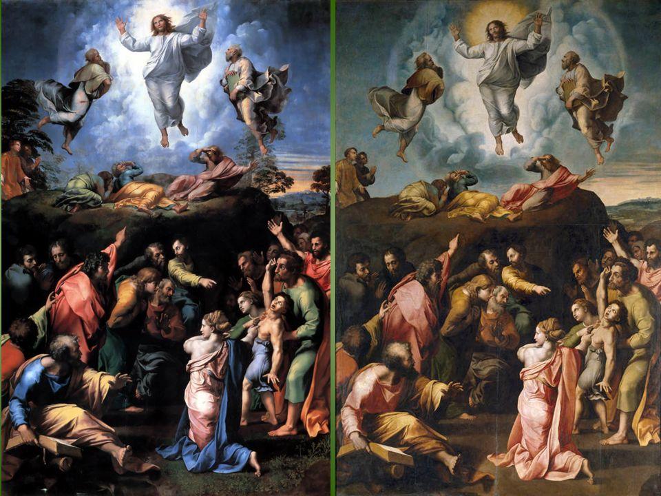 Taller de Giulio Romano y Gianfrancesco Penni Transfiguración del Señor. Óleo sobre tabla, 396 x 263 cm, 1520- 1528, Madrid, Museo Nacional del Prado