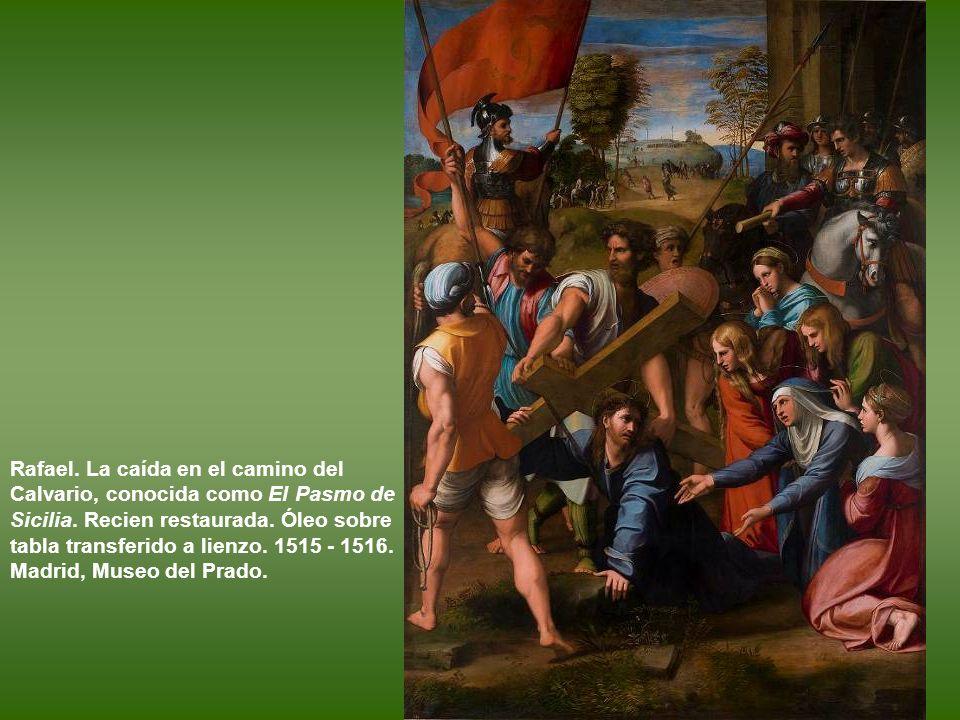 Rafael. La Virgen y el Niño con el arcángel san Rafael, Tobías y san Jerónimo, conocida como La Virgen del pez. h. 1513 - 1514. Óleo sobre tabla trans