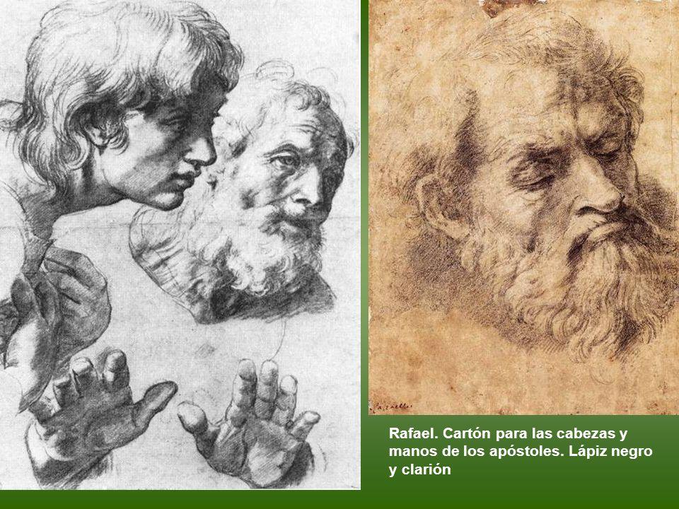 Rafael. Estudio para dos apóstoles. Sanguina Rafael. Estudio para cabeza de mujer. Lápiz negro y clarión