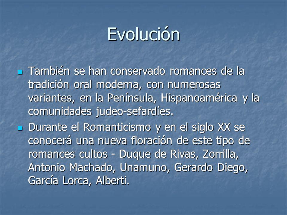 Evolución También se han conservado romances de la tradición oral moderna, con numerosas variantes, en la Península, Hispanoamérica y la comunidades j