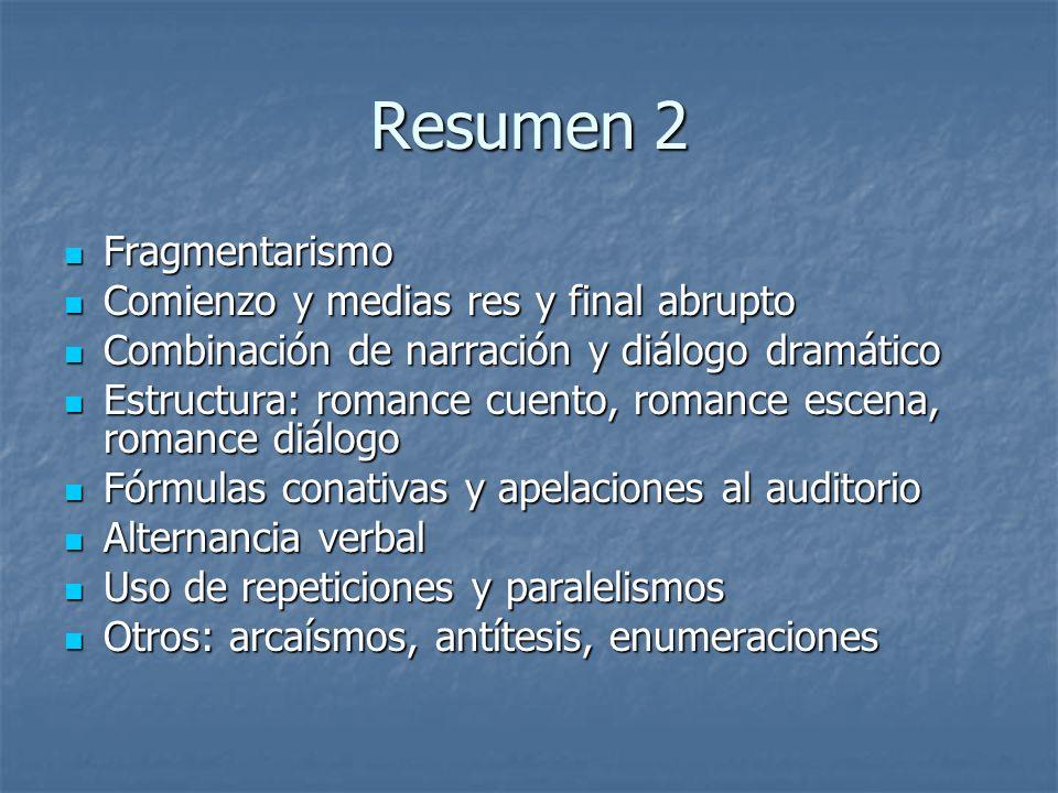 Resumen 2 Fragmentarismo Fragmentarismo Comienzo y medias res y final abrupto Comienzo y medias res y final abrupto Combinación de narración y diálogo