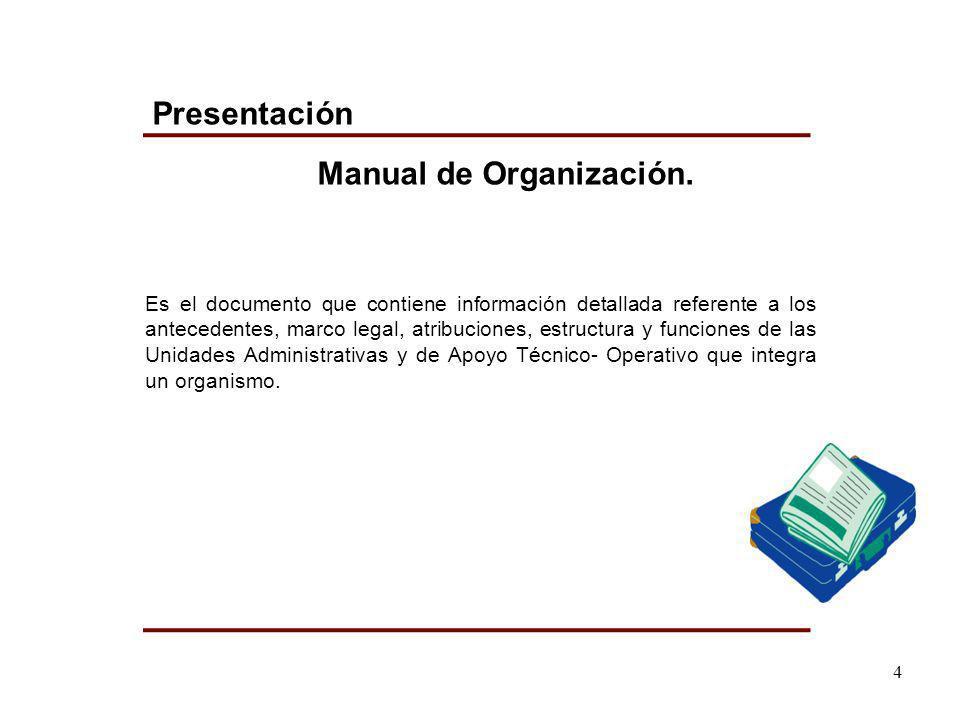 Es el documento que contiene información detallada referente a los antecedentes, marco legal, atribuciones, estructura y funciones de las Unidades Adm