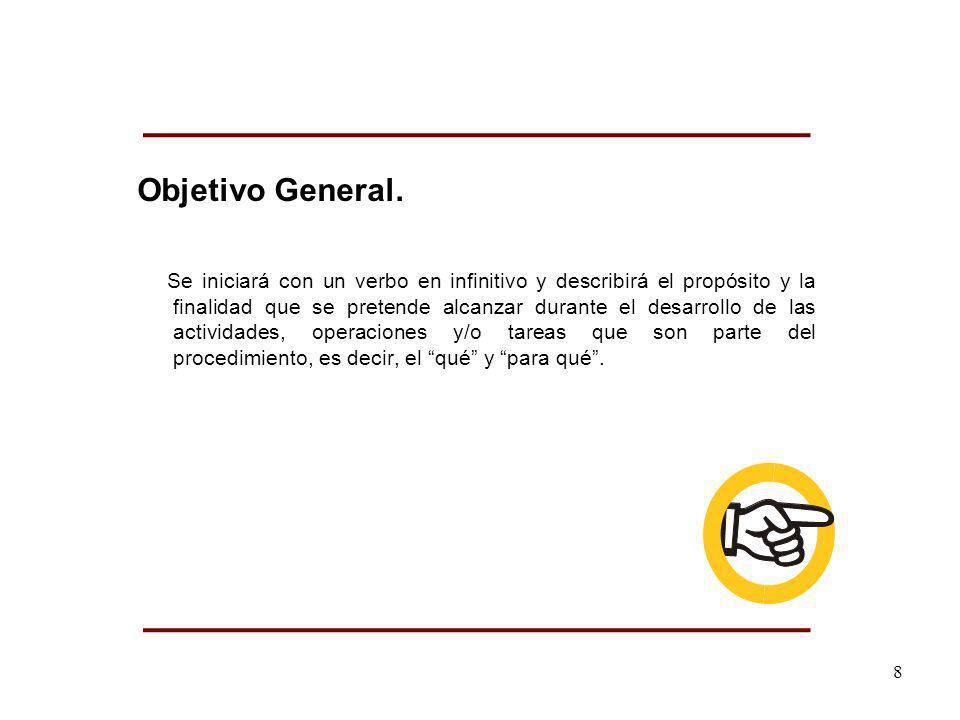 Objetivo General. Se iniciará con un verbo en infinitivo y describirá el propósito y la finalidad que se pretende alcanzar durante el desarrollo de la