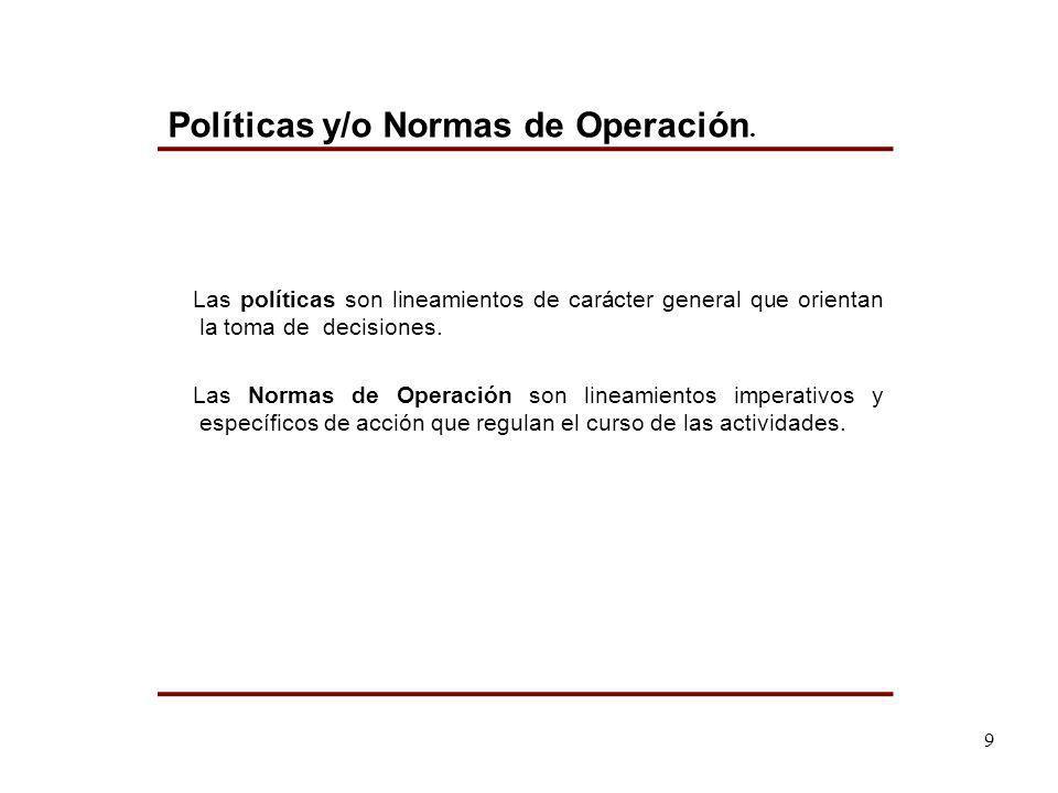Las políticas son lineamientos de carácter general que orientan la toma de decisiones. Las Normas de Operación son lineamientos imperativos y específi