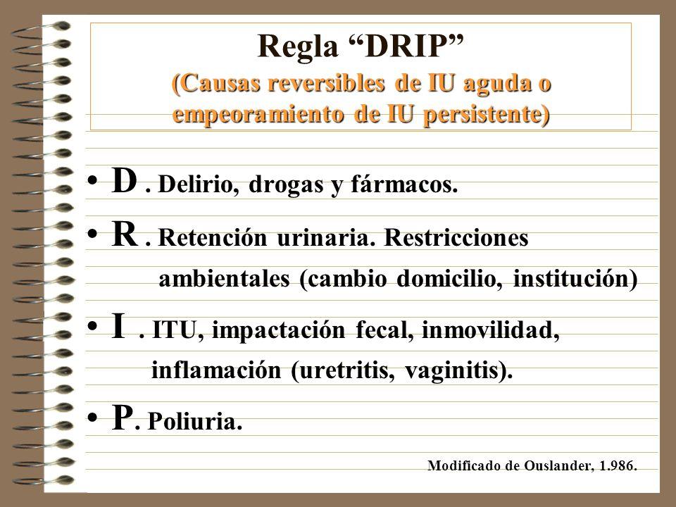 (Causas reversibles de IU aguda o empeoramiento de IU persistente) Regla DRIP (Causas reversibles de IU aguda o empeoramiento de IU persistente) D. De