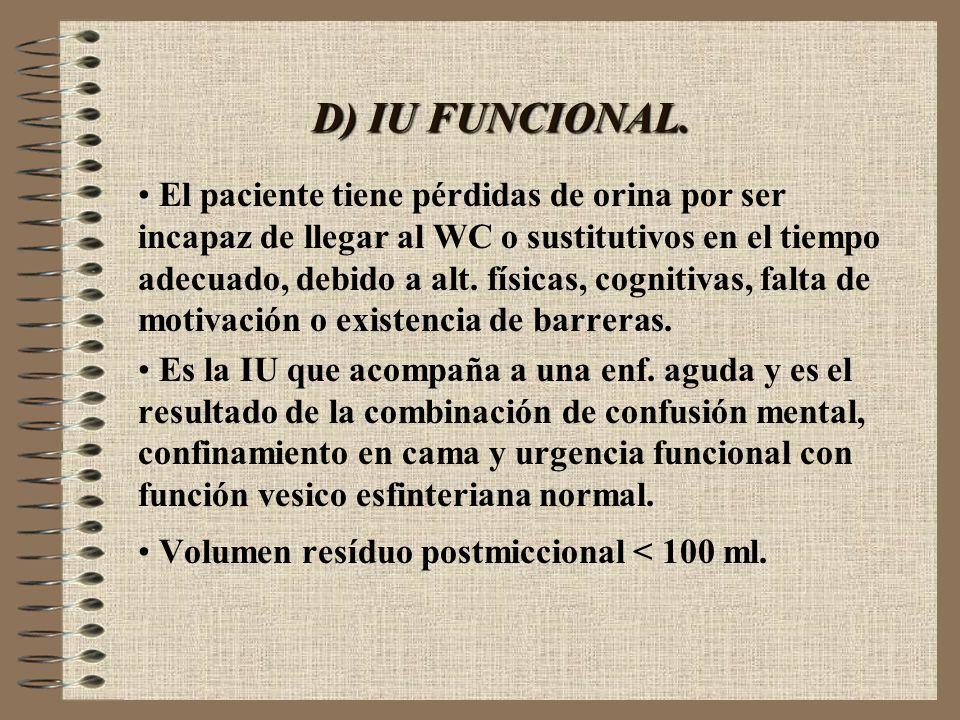 D) IU FUNCIONAL. El paciente tiene pérdidas de orina por ser incapaz de llegar al WC o sustitutivos en el tiempo adecuado, debido a alt. físicas, cogn