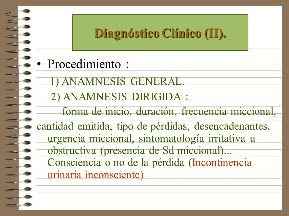 Procedimiento : 1) ANAMNESIS GENERAL. 2) ANAMNESIS DIRIGIDA : forma de inicio, duración, frecuencia miccional, cantidad emitida, tipo de pérdidas, des