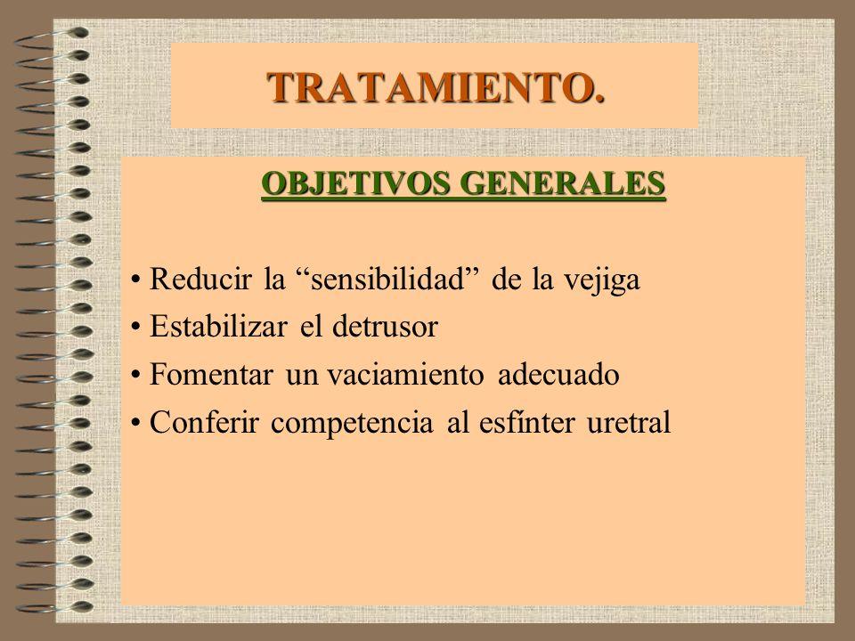TRATAMIENTO. OBJETIVOS GENERALES Reducir la sensibilidad de la vejiga Estabilizar el detrusor Fomentar un vaciamiento adecuado Conferir competencia al