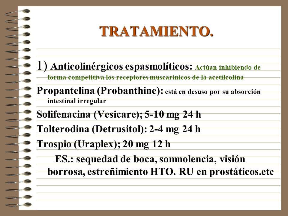 TRATAMIENTO. 1) Anticolinérgicos espasmolíticos: Actúan inhibiendo de forma competitiva los receptores muscarínicos de la acetilcolina Propantelina (P