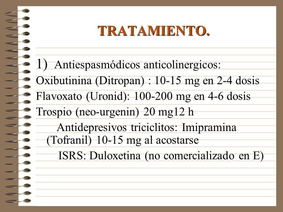 TRATAMIENTO. 1) Antiespasmódicos anticolinergicos: Oxibutinina (Ditropan) : 10-15 mg en 2-4 dosis Flavoxato (Uronid): 100-200 mg en 4-6 dosis Trospio