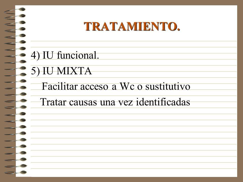 4) IU funcional. 5) IU MIXTA Facilitar acceso a Wc o sustitutivo Tratar causas una vez identificadas TRATAMIENTO.