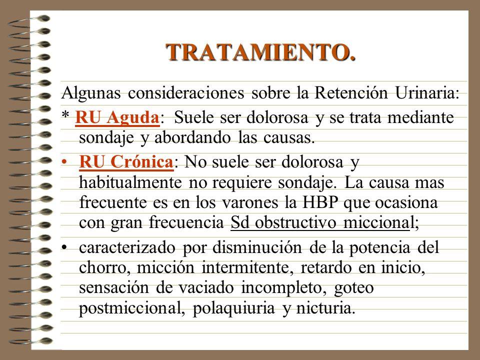 Algunas consideraciones sobre la Retención Urinaria: * RU Aguda: Suele ser dolorosa y se trata mediante sondaje y abordando las causas. RU Crónica: No