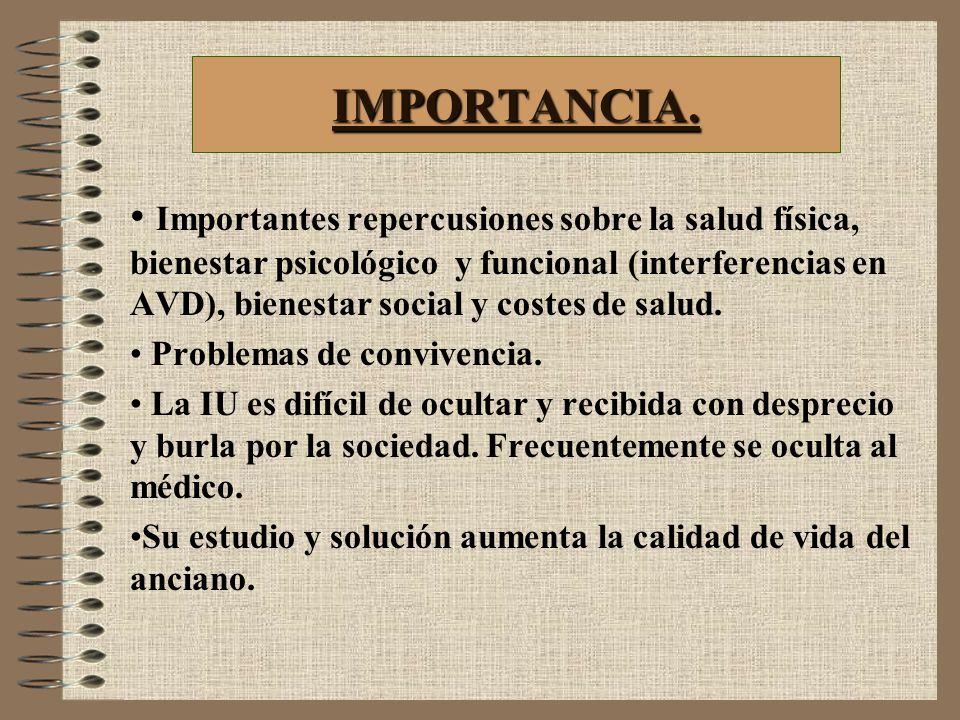 IMPORTANCIA. Importantes repercusiones sobre la salud física, bienestar psicológico y funcional (interferencias en AVD), bienestar social y costes de