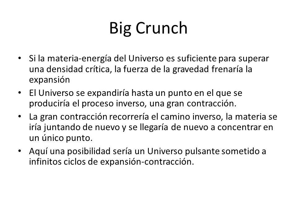 Big Crunch Si la materia-energía del Universo es suficiente para superar una densidad crítica, la fuerza de la gravedad frenaría la expansión El Universo se expandiría hasta un punto en el que se produciría el proceso inverso, una gran contracción.