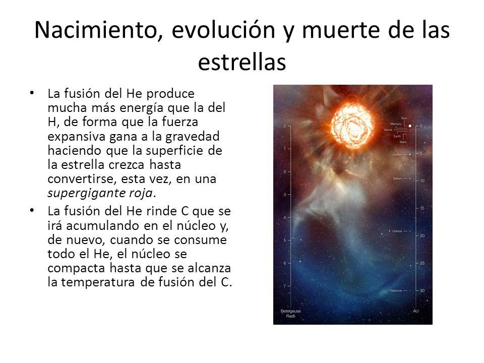 Nacimiento, evolución y muerte de las estrellas La fusión del He produce mucha más energía que la del H, de forma que la fuerza expansiva gana a la gravedad haciendo que la superficie de la estrella crezca hasta convertirse, esta vez, en una supergigante roja.