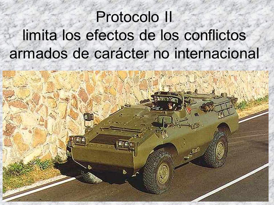 Protocolo II limita los efectos de los conflictos armados de carácter no internacional