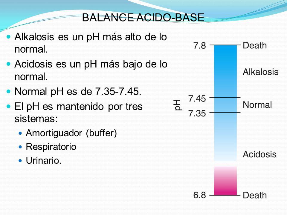 BALANCE ACIDO-BASE Alkalosis es un pH más alto de lo normal. Acidosis es un pH más bajo de lo normal. Normal pH es de 7.35-7.45. El pH es mantenido po