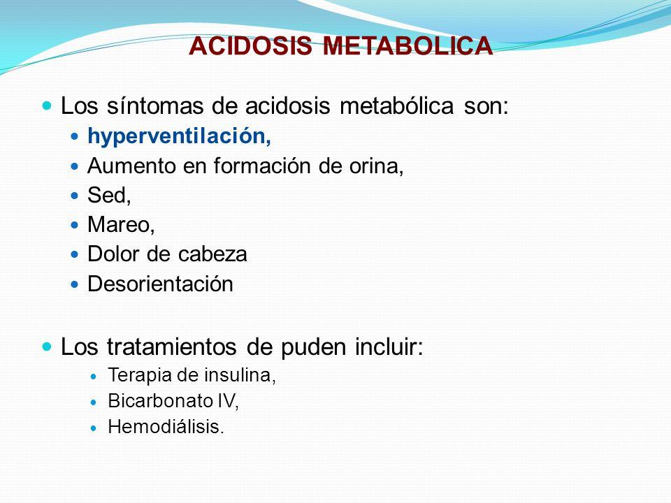 ACIDOSIS METABOLICA Los síntomas de acidosis metabólica son: hyperventilación, Aumento en formación de orina, Sed, Mareo, Dolor de cabeza Desorientaci