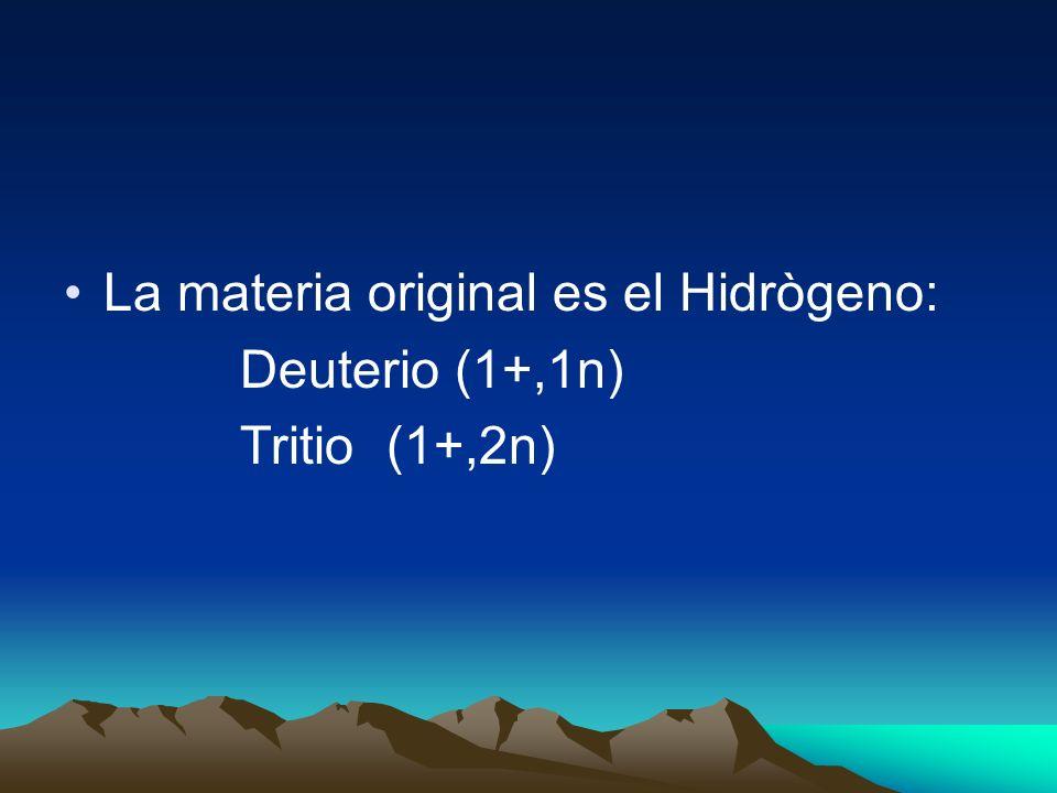 La materia original es el Hidrògeno: Deuterio (1+,1n) Tritio (1+,2n)