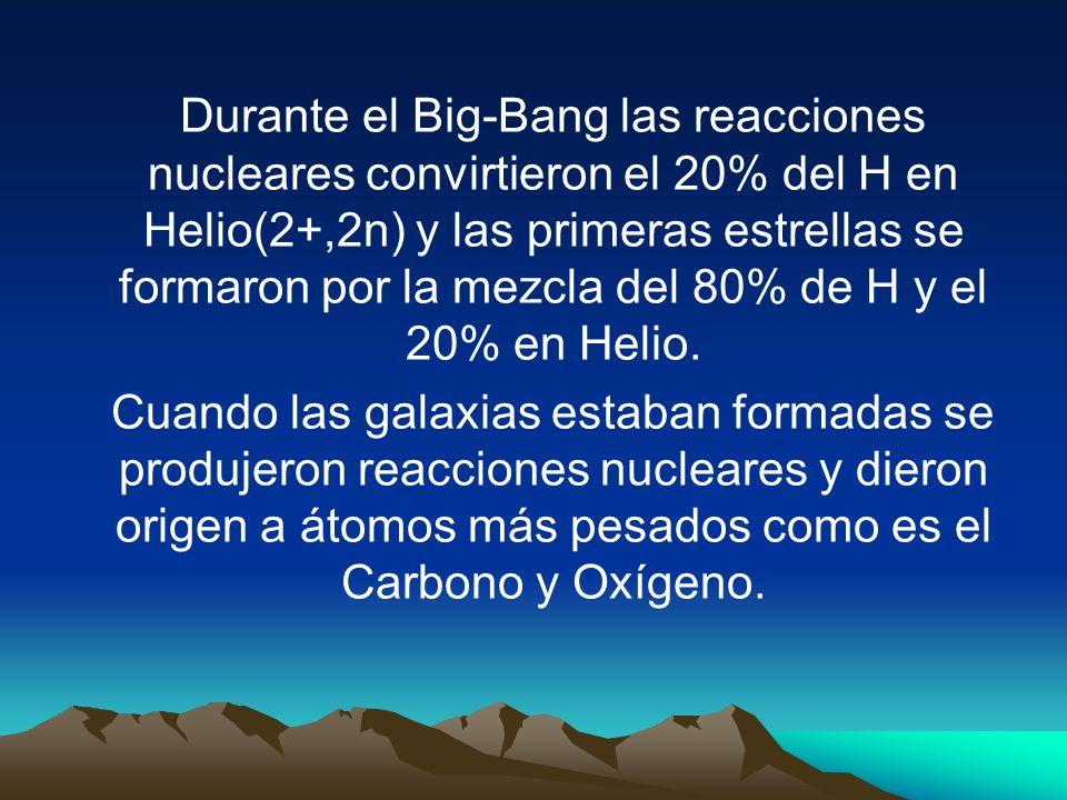 Durante el Big-Bang las reacciones nucleares convirtieron el 20% del H en Helio(2+,2n) y las primeras estrellas se formaron por la mezcla del 80% de H