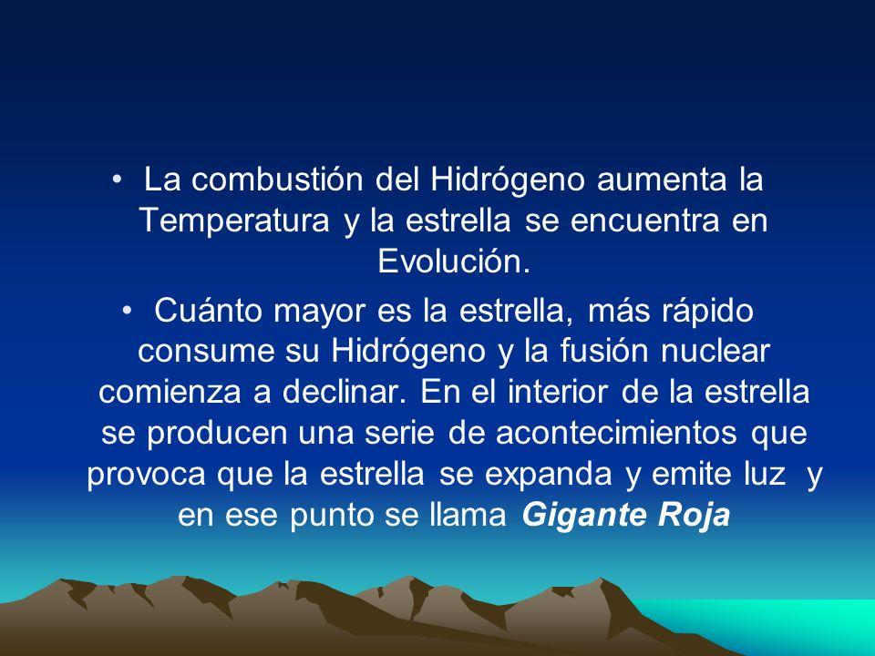 La combustión del Hidrógeno aumenta la Temperatura y la estrella se encuentra en Evolución. Cuánto mayor es la estrella, más rápido consume su Hidróge