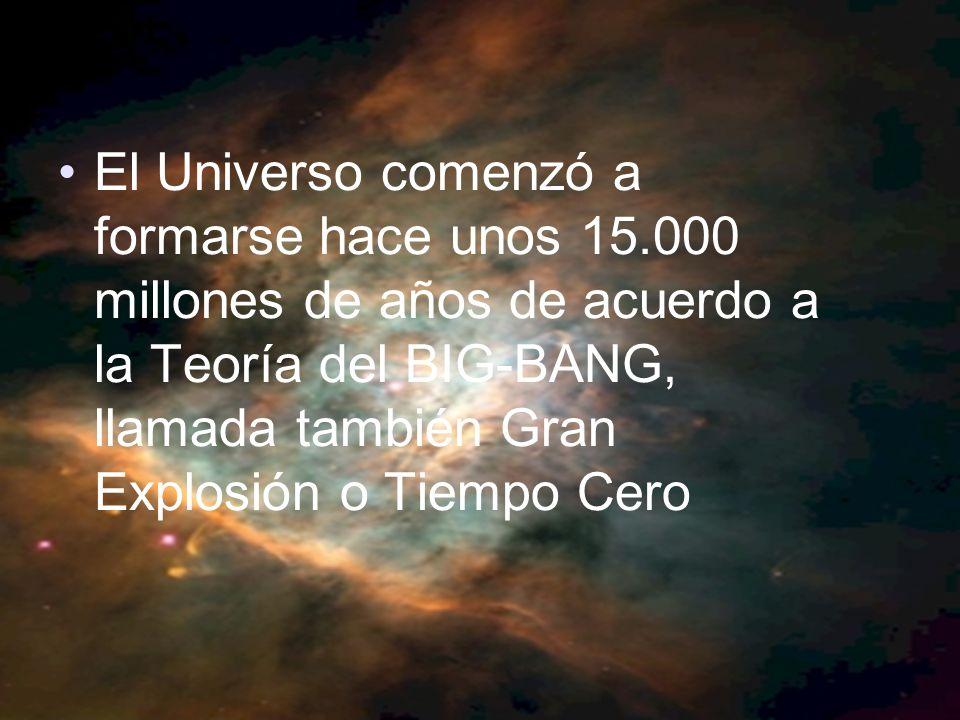 El Universo comenzó a formarse hace unos 15.000 millones de años de acuerdo a la Teoría del BIG-BANG, llamada también Gran Explosión o Tiempo Cero