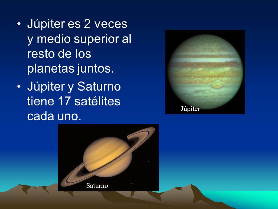 Júpiter es 2 veces y medio superior al resto de los planetas juntos. Júpiter y Saturno tiene 17 satélites cada uno. Saturno Júpiter