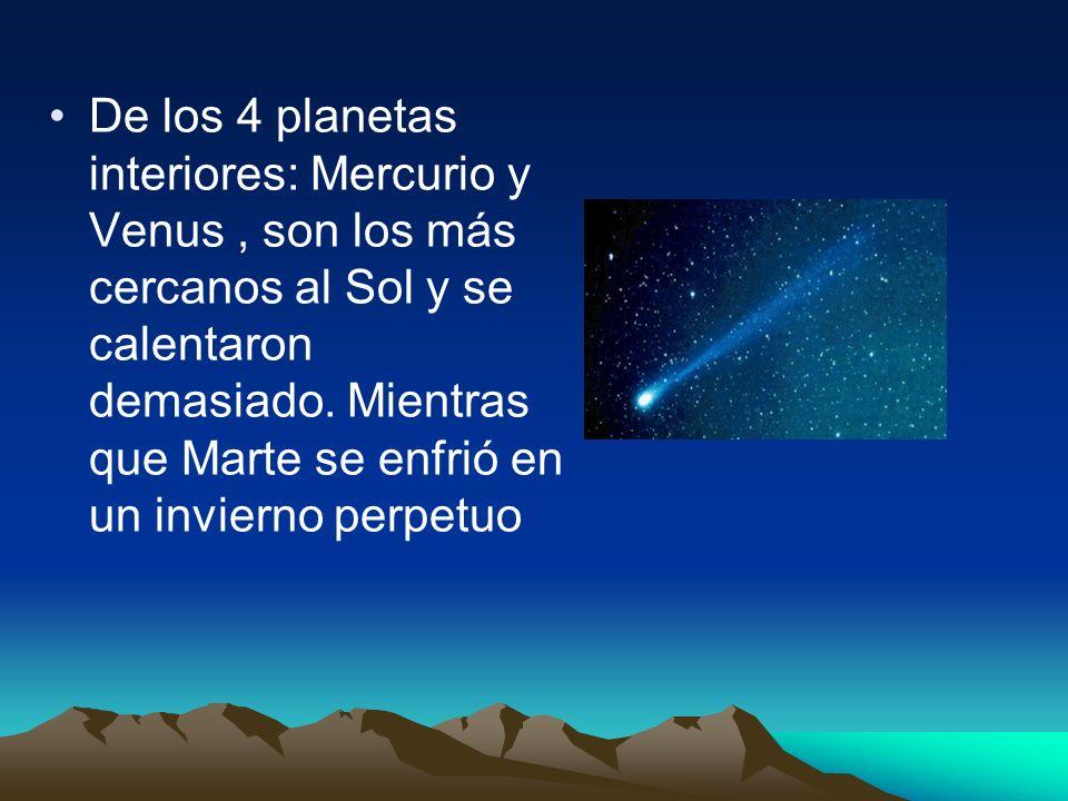 De los 4 planetas interiores: Mercurio y Venus, son los más cercanos al Sol y se calentaron demasiado. Mientras que Marte se enfrió en un invierno per